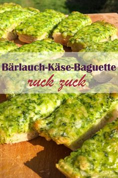 Easy and fast. - Wild garlic cheese baguette in no time homemade with wild garlic paste from stock, Thermomix - Baguette, Mexican Food Recipes, Vegetarian Recipes, Ethnic Recipes, Garlic Cheese, Wild Garlic, Evening Meals, Food Items, Grilling Recipes
