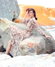 Hair and makeup by Blanka Dudes on Megan Gale for the Australian Traveller Magazine.