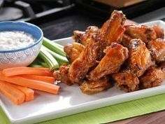 Bobby's Buffalo Wings with Tangy Cheese Dip from CookingChannelTV.com