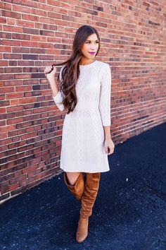 Beige Cable Knit Sweater Dress - Dottie Couture Boutique