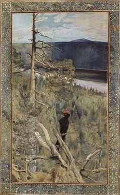 Akseli Gallen-Kallela: The Great Black Woodpecker, Finnish National Gallery / Ateneum Art Museum. Google Art Project, Vader Star Wars, Historical Art, Paul Gauguin, Tahiti, Paintings For Sale, Art Google, Art Museum, Cool Art