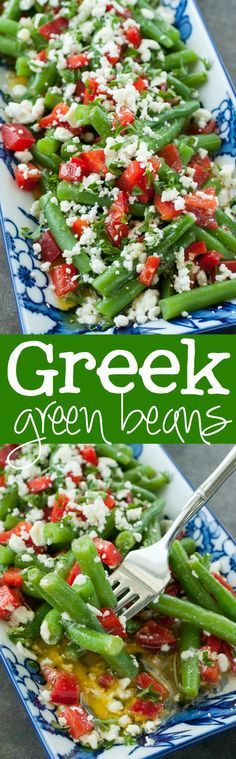 Greek Green Bean Salad Recipe :: an easy yet impressive side dish!                                                                                                                                                     More