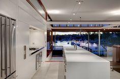 cuisine moderne ilot blanc exterieur plan travail bar design