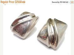 Sterling Silver Large rectangle earrings Hallow South Western Pierced