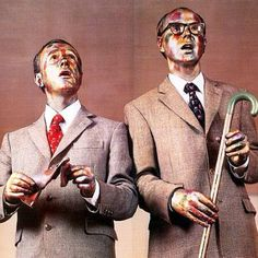 """Gilbert and George Dream their Dreams Away - """"We try not to have ideas, preferring accidents. To create, you must empty yourself of every artistic thought."""" Gilbert and George. Human Sculpture, Art Sculpture, Gilbert & George, Grayson Perry, Living Statue, Sir Anthony, Fluxus, Famous Artwork, Homeless Man"""