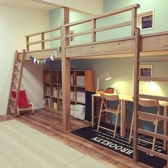 Comfortable space ♡ This is the ideal layout of the room Mezzanine Bedroom, Bedroom Loft, Baby Bedroom, Dream Bedroom, Kids Bedroom, Double Loft Beds, Loft Bed Plans, Small Room Design, Shared Bedrooms