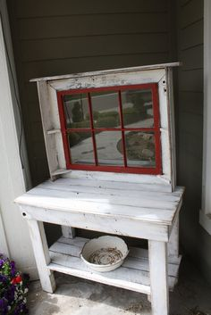 potting bench | antique window potting bench | Garden