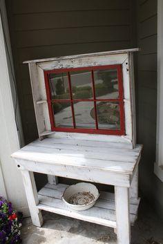 potting bench | antique window potting bench | Garden