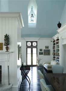 Aqua blue painted ceiling, dark floor, white woodwork.... Have to have!!!! Not only my color scheme but my favorite color in the world!!!!