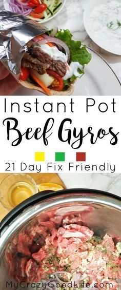 These Instant Pot Beef Gyros (can be made on stove too!) are a quick meal filled with clean ingredients and veggies–and they're 21 Day Fix friendly!   21 Day Fix Instant Pot Beef Gyros   Instant Pot Dinner Recipe   21 Day Fix Dinner Recipe   21 Day Fix Gryos #instantpot #pressurecooker #IPcooking #pressurecooking #21dayfix #beachbody