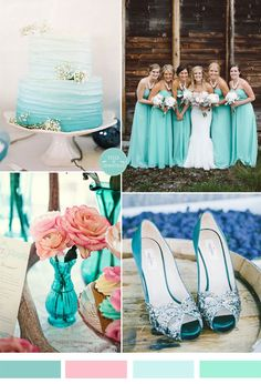 trending jewel-toned turquoise blue wedding color combos and turquoise bridesmaid dresses