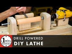 Make your own drill powered lathe! Hit me up on social media: F… Make your own drill powered lathe! Diy Lathe, Diy Workbench, Lathe Tools, Woodworking Lathe, Learn Woodworking, Wood Lathe, Woodworking Projects, Woodworking Furniture, Woodworking Basics