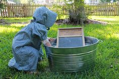 """After reading Little House on the Prairie DIY """"Laura Camp"""" for homespun hands on activities like washing on a washboard and making butter. @pamela cossu we might need some prairie girl dress up clothes at some point :-)"""