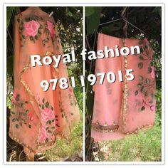 Indian Salwar Suit, Punjabi Salwar Suits, Indian Suits, Indian Wear, Salwar Kameez, Suit Fashion, Royal Fashion, Hand Painted Dress, Fabric Paint Designs