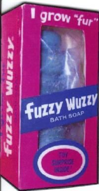 Ohhh!  Fuzzy Wuzzy the Bear, grew fur when he dried out after your bath!!  PLUS their was a little plastic toy in the middle when you used him up.