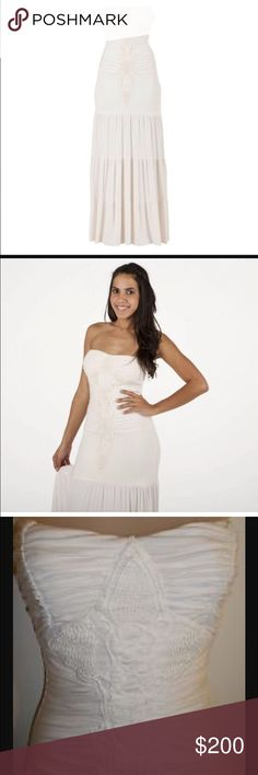Sky strapless ruched bone crochet maxi dress s Sky brand bone white ruched crimp her tiered maxi dress absolutely stunning size small new with tags Sky Dresses Maxi