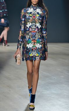 Dixiecult Embroidered Lace Dress by Mary Katrantzou for Preorder on Moda Operandi