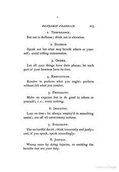 13 virtues, from the Autobiography of Benjamin Franklin - Benjamin Franklin - Google Books