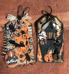 This listing is for 2 tags. One has a pocket with tags Halloween Pin Up, Halloween Tags, Halloween Spider, Vintage Halloween, Scrapbook Supplies, Scrapbook Cards, Scrapbooking, Horror Party, Paper Pop