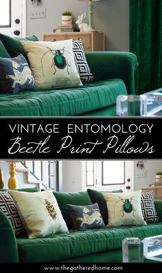 Add a touch of nature to your home with these pillows created using vintage entomology illustrations. So chic!