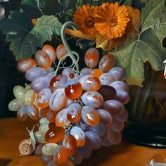 Josef Holstayn  Still Life with Flowers and Fruit, detail  20th century