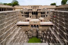 Chand Baori is a 9th century Baori (step well for collecting rainwater) in Jaipur, India. It has some 3,500 steps that descend 13 stories deep.