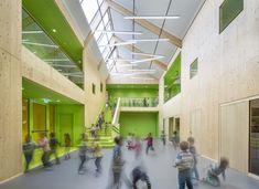 "Projekt ""Kindertagesstätte Völklingen""...competitionline atrium, wood walls, center stair, kids"