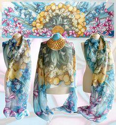 Silk scarf Flowers - For sale by MinkuLul.deviantart.com on @deviantART
