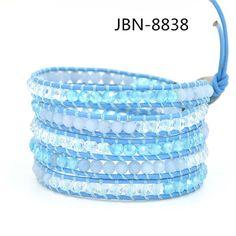 Exquisite Quality stone  Beads Leather 5X wraps Bracelet crystal jewelry Bracelets &bangles for women for mens bijoux JBN-8838