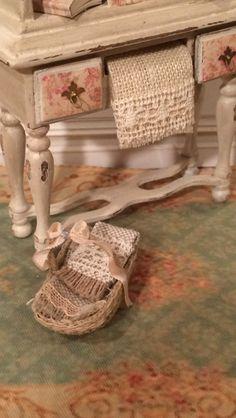 Dollhouse miniature 1:12th scale linen basket