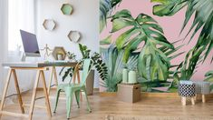Popular custom-made Pink Jungle wallpaper. This on-trend palm leaf wallpaper will bring some life into any room. Pink Jungle Wallpaper, Tropical Wallpaper, Trendy Wallpaper, Print Wallpaper, Bedroom Wallpaper, Wallpaper Shops, Floral Wallpapers, Wallpaper Designs, Beautiful Wallpaper