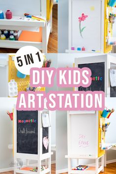 A DIY Kids Art Station that includes 5 options for getting creative – a dry erase board, magnetic chalkboard, art paper roll holder, kids art display, and an art supply organizer. Set up a creative station for the kids with this easy project! #kids #woodworking #AnikasDIYLIfe Colorful Furniture, Diy Furniture, Kids Art Station, Kids Art Centers, Painted Pegboard, Displaying Kids Artwork, Paper Roll Holders, Magnetic Chalkboard, Beginner Woodworking Projects