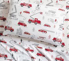 Firetruck Cotton Sheet Set, Standard Pillow Case, White Multi