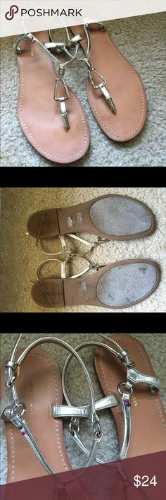 Lightly used Tommy Hilfiger Gold Strappy Sandals Worn 3-4 times. See light bending in the leather on the ankle straps, but otherwise they look new. Super comfy and cute with the metal detail Tommy Hilfiger Shoes Sandals