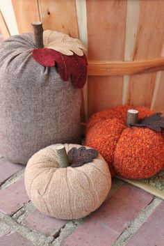 Upcycled Cable Knit Sweater Pumpkins