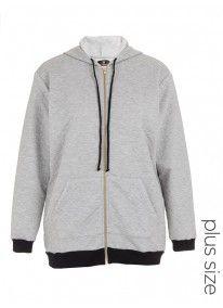 Quilted longer-length hoodie pale Grey