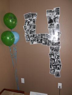 Cute Idea: Display the Birthday Boy's/Girl's Age in Pictures. Great idea for adult party too. 4th Birthday Parties, Birthday Bash, Birthday Ideas, Ideias Diy, Bday Girl, Festa Party, First Birthdays, Party Time, Decoration