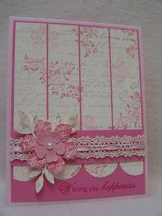 handmade card: Vintage Birthday by suen ... like the design ...  beautiful background paper was made by stamping French Script stamp in Encore gold and then stamping the  Vintage flourish in Regal Rose ... Stampin' Up!