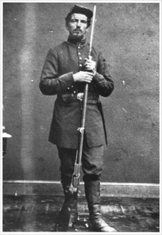 """""""A member of Berdan's Sharpshooters poses with his Colt Model 1855 Revolving Rifle. Although it proved to be a devastating weapon, it ironically doomed the 21st Ohio Volunteer Infantry when the volume of fire it provided..."""