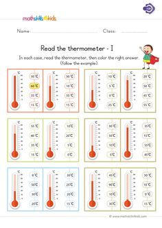 Ooops, just how admirable it is for your 5 year old kid to read the thermometer with confidence. This colorful and well designed device will help kids smartly figure out how hot or cold a person or place is, by excitedly reading the thermometer. First Grade Measurement, Measurement Worksheets, 1st Grade Math Worksheets, Worksheets For Kids, Addition Worksheets, Printable Worksheets, Math For 5th Graders, 1st Grade Science, First Grade Math