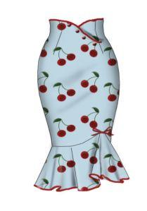 Rockabilly Cherry stretch wiggle skirt