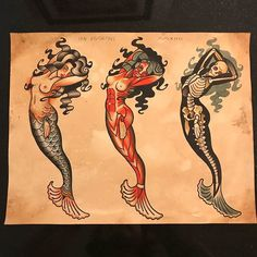 Discover the meaning behind Sailor Jerry's famous old school tattoos, from dragon tattoos to classic skull tattoo designs. Visit our Website for Traditional Mermaid Tattoos, Traditional Tattoo Design, Traditional Ink, Traditional Tattoo Flash, American Traditional, Flash Art Tattoos, Pin Up Tattoos, Body Art Tattoos, Clown Tattoo