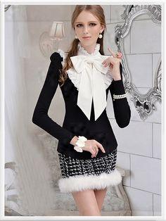Morpheus Boutique  - Black High Collar Long Sleeve Bow Ruffle Shirt