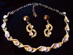 Vintage Rhinestone Necklace Earring Set by BrightgemsTreasures, $24.50