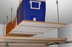 Budget ideas and garage organization hacks. Garage Wall Storage Idea put spray p. Budget ideas and garage organization hacks. Garage Wall Storage Idea put spray paint and othe Organization on a budget shelving Garage Wall Storage, Garage Shelf, Garage Walls, Garage Tool Organization, Garage Storage Solutions, Organization Hacks, Storage Ideas, Ceiling Shelves, Wall Mounted Shelves