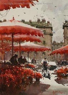 Flower Stalls, Paris - Watercolor by Joseph Zbukvic by vivian Art Aquarelle, Watercolor Artists, Watercolor Landscape, Watercolour Painting, Painting & Drawing, Watercolours, Image Paris, Joseph Zbukvic, Pintura Exterior