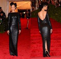 Like only she can, Rihanna made a statement in a second-skin Tom Ford crocodile gown with a dramatically dipping back and an elaborate updo at the Met Costume Institute Gala in May 2012.