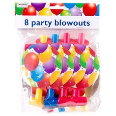 Birthday Balloon Party Blowouts, 8-ct. Pack