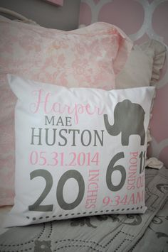 Personalized birth pillow cover birth by ourTraditions on Etsy