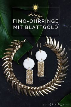 DIY Fimo Ohrringe mit Crackle-Gold | Fimo Schmuck selber machen - 5 Blogs 1000 Ideen | Filizity.com | DIY-Blog aus dem Rheinland #fimo #gold #crackle #krakelierlack Les Gold, Diy Fimo, German Fashion, Diy Blog, Polymer Clay Earrings, Schmuck Design, Diy Fashion, Pearls, Bricolage